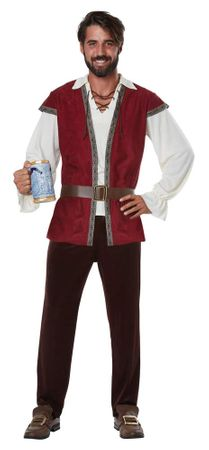 Adult Burgundy Medieval Man Costume