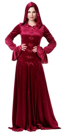 Adult Burgundy Twilight Hooded Medieval Robe, Size XS
