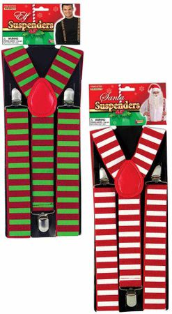 Adult Christmas Striped Suspenders