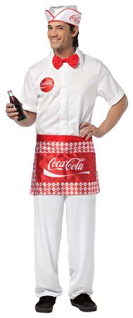 Adult Coca Cola Soda Jerk Costume, Size M/L