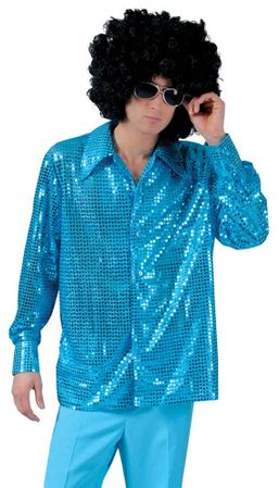 Adult Cosmic Blue Sequin Disco Shirt