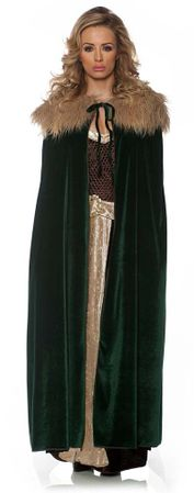 Adult Dark Green Fur Trimmed Cape