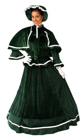 Adult Dickens Christmas Victorian Green Dress