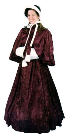 Adult Dickens Lady Victorian Burgundy Dress