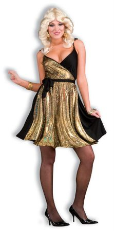 Adult Disco Gold Sexy 70's Costume, Size M/L