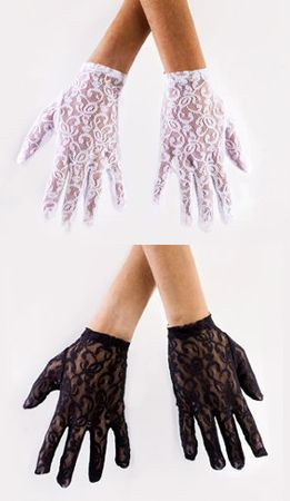 Adult Economy Lace Gloves - Black or White
