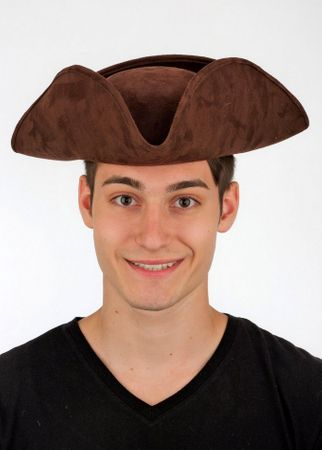 Adult Faux Suede Tricorn Hat - Black or Brown