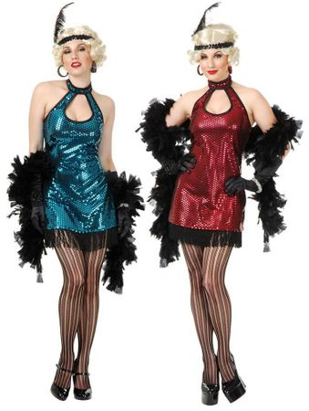 Adult Flashy Sequin Flapper Costume - Blue or Red