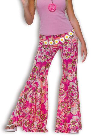 Adult Flower Power Bell Bottom Pants, Size M/L