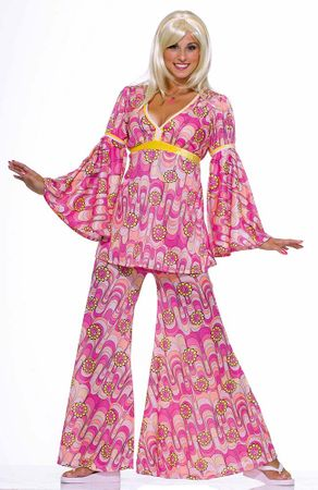 Adult Flower Power Hippie Costume, Size M/L
