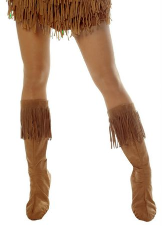 Adult Fringed Faux Suede Boot Covers