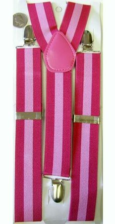 Adult Fuchsia/Pink Striped Suspenders