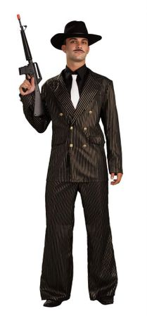 Adult Gangster Gold Pinstriped Suit Costume, Size M/L