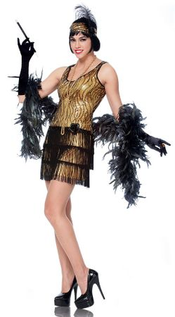 Adult Gold/Black Broadway Flapper Costume