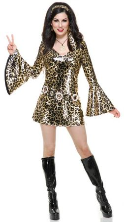 Adult Gold Leopard Print Disco Diva Costume