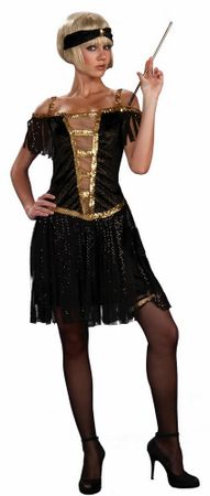 Adult Golden Glamour Flapper Dress, Size XS/S