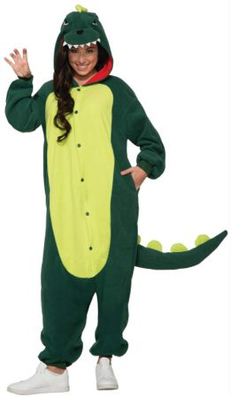 Adult Green Dinosaur Onesie Costume