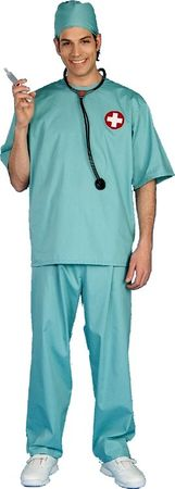 Adult Green Surgeon Scrubs Costume, Size M/L