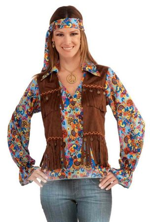 Adult Groovy Hippie Woman Costume, Size M/L
