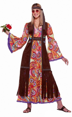 Adult Hippie Love Child Costume, Size M/L