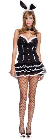 Adult Honey Bunny Black/White Tuxedo Costume