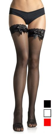 Adult White Lacy Fishnet Thigh High w/ Bow