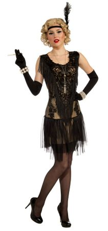 Adult Lacy Lindy Roaring 20's Flapper Costume, Size S/M