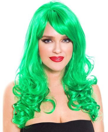 Adult Long Curly Green Wig