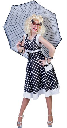 Adult Lovely Lucy Black/White Polka Dot Dress