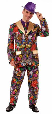 Adult Mardi Gras Man Suit Costume, Size M/L