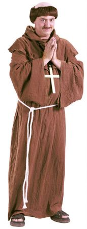 Adult Medieval Monk Costume With Wig