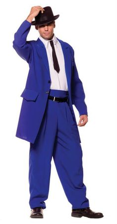 Adult XXL Blue Zoot Suit Costume