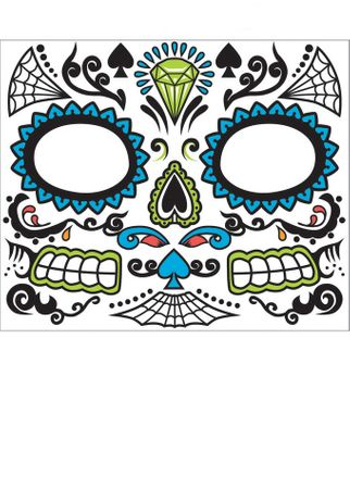 Adult Men's Day of the Dead Face Tattoo