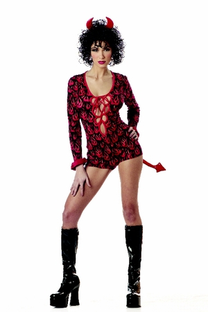 Adult Naughty Lace-Up Devil Costume