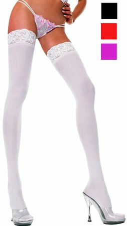 Adult Opaque Lace Top Thigh High - More Colors