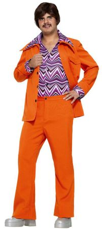 Adult Orange 70's Leisure Suit Costume With Attached Shirt, Size M/L