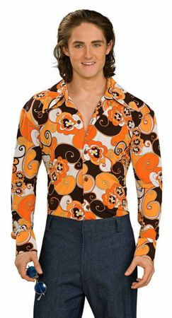 Adult Orange Groovy 70's Shirt