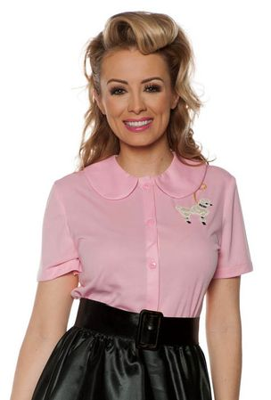 Adult Pink 50's Poodle Blouse