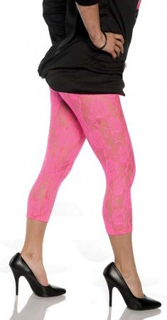 Adult Hot Pink Floral Lace Leggings