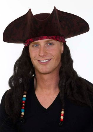 Adult Pirate Hat with Bandana  Dreadlocks
