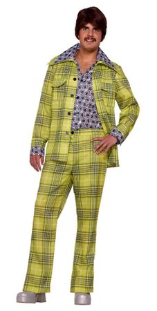 Adult Plaid 70's Leisure Suit Costume With Attached Shirt, Size M/L