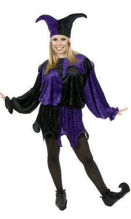 Plus Size Adult Purple/Black Velvet Jester Costume