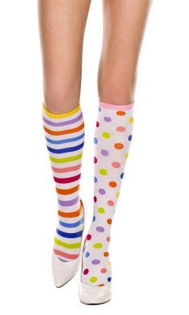 Adult Rainbow Striped and Polka Dot Knee High Socks
