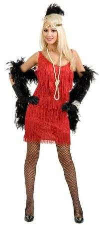 Plus Size Red Fringed Flapper Costume
