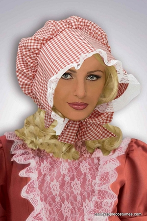 Adult Red Gingham Pioneer Bonnet