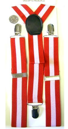 Adult Red/White Striped Suspenders