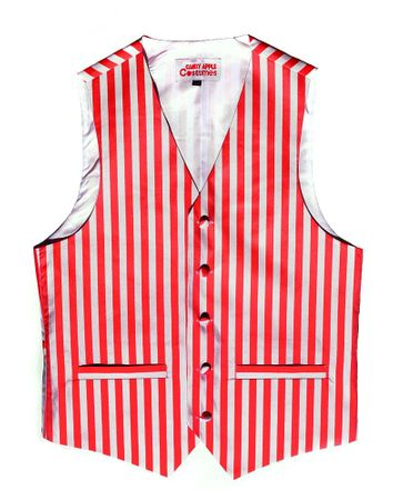 Adult Red/White Striped Vest - XS through 5X