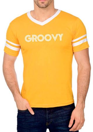 Adult Retro Yellow 70's Groovy Tee
