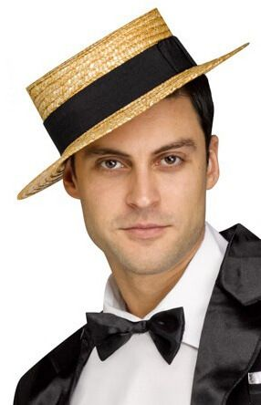 Adult Ricky Ricardo Straw Hat & Bow Tie Costume