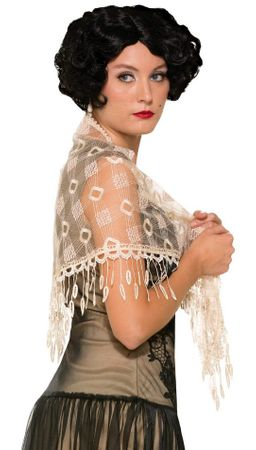 Adult Roaring 20's Off White Lace Shawl
